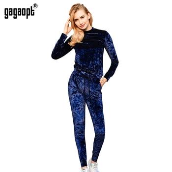 Gagaopt mulheres treino de veludo 3 cores brilhantes inverno quente set 2 pcs (top de manga comprida + calças de cordão) sudaderas feminino