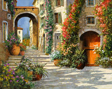 italian scenery painting the Red Door On Salita modern art canvas home decor High quality hand painted(China)