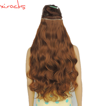 2 Piece Xi.Rocks 5 Clip in Hair Extension 70cm Synthetic Hair Clips Extensions 120g Curly Hairpin Hairpiece Chocolate Color 27