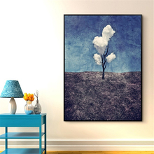 Vertical Version Cloud Tree Canvas Mural Decorative Art Drawing No Frame Nordic Wall Paper Creative Cafe Corridor Study Ornament