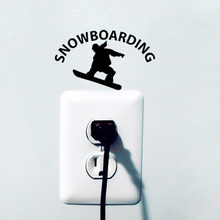 Skiing Man Silhouette Vinyl  Room Switch Sticker  Personality Snowboarding  Decoration Wall Sticker A2015