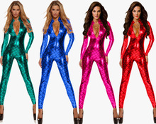Buy Adult Women Pole Dance Mermaid Costume Wetlook Leather Bodysuit PU Jumpsuit Vinyl PVC Catsuit Faux Latex Dress Clubwear Lingerie
