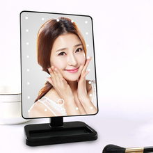 Led Mirror Light Portable Makeup Adjustable Vanity Tabletop Lamp 22 LEDs Lighted Touch Screen Mirror Luminous 180 Rotating
