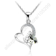 Buying Bargains Wholesale Jewelry Necklace 925 Sterling Silver Love Letter Heart Cubic Zirconia Pendant Jewellery Necklaces(China)
