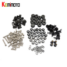 KEMiMOTO Motorcycle Fairing Bolt Screw Fastener Nut Washer For Yamaha YZF R6 2003-2005 R6S 2006 2007 2008 2009