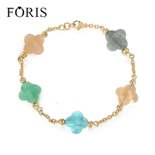 FORIS Newest Beautiful Jewelry Four Leaf Clover Bracelets For Women Christmas Gift PN014(China)