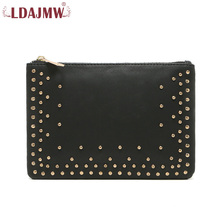 LDAJMW Fashion Rivet Bag Women Leather Handbags Purses And Handbags Clutch Mobie Phone Bag(China)