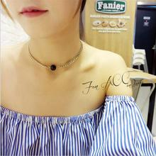 Free shipping! 2017 new Korean simple version  ladies fashion metal black beads necklace wild factory direct female jewelry
