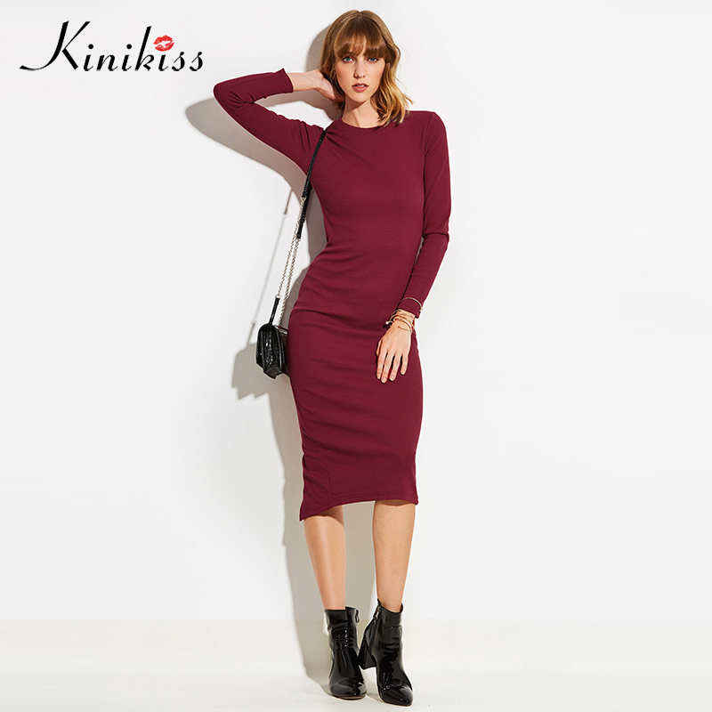 Kinikiss Women Office Dress Sexy Stretch 2018 Spring Fashion Long Sleeve Dresses Party Basic Bodycon Split Knitted Sweater Dress