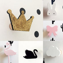DIY Cute Crown Swan Bats wooden clothes hook room wall decorate children room ECO friendly hanger hook baby room decoration