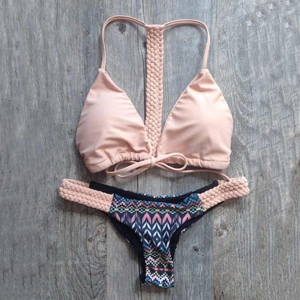 Sumen Women Two Piece Bikini Push-Up Padded Stripe Swimwear Swimsuit Beachwear