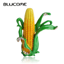 Blucome Nice Yellow Corn Maize Brooches Green Enamel Leaves Farmer Plant Brooch Scarf Collar Suit Clips Gold-color Pins Jewelry(China)