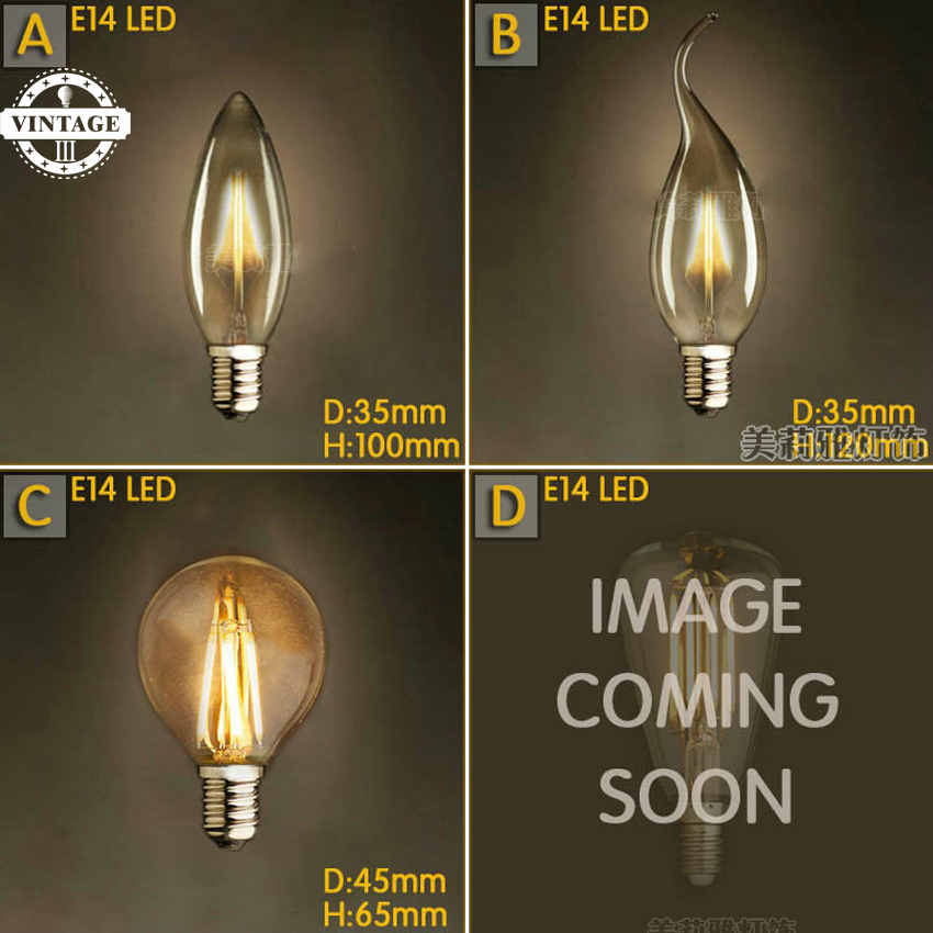 LightInBox Vintage Bombilla Ampoules Decoratives Carbon Filament Bulb 4pcs 4W E14 220V LED Lampada Edison Lamp Bulb Light
