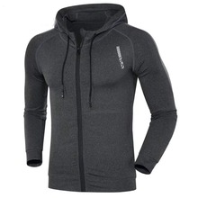 Men running jacket Sports fitness Long sleeves Hooded Tight Gym Soccer basketball Outdoor training Run Jogging Jackets clothes(China)