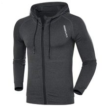 Для мужчин бег куртка Спорт Фитнес Одежда с длинным рукавом капюшоном  плотно Гольфы спортивные Баскетбол Открытый 3d69191a660