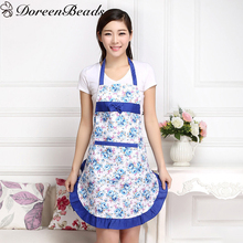 DoreenBeads Cleaning Cooking Aprons With Pocket Women Lady Restaurant Home Kitchen Useful Flower Apron 100cm x66cm, 1 Piece