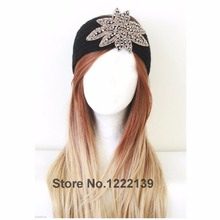 50pcs/lot New Fashion Infinity Handmade Beaded Flower Jewel Knit Headband Glitter Hairband Winter Crochet HeadWrap Earmuffs
