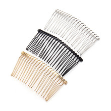 6pcs/lot 3.6cmx7.5cm 20Teeth Black /Gold/Rhodium Metal Hair Combs Wedding Bride Clips Headpiece Hair Sticks Accessories F1573C