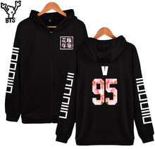 BTS New Fashion BTS Design Hoodies Women Hip Hop With Zipper V 95 Korean Black Streetwear Style Womens Jackets And Coats Plus