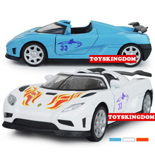 Hot diecast super sport car 1:32 scale Koenigsegg one 1 model with light and sound pull back alloy toys for kids Collection