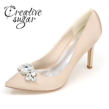 Creativesugar Elegant lady pointed toe satin dress shoes big stone crystals bridal bridalmaids heels wedding prom cocktail pumps