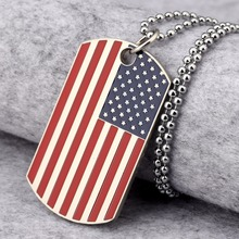 America USA Flag Military card Fashion alloy charms Necklaces Hip Hop Rock Pirates Jewelry Chains Pendants Steel Cool Dog Tag