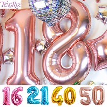 FENGRISE Happy Birthday 16 18 20 21 30 40 50 60 Champagne Birthday Balloon Gold Number Balloon Happy Birthday Party Decorations Adult(China)