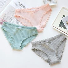 Buy New women panties 2018 comfortable briefs women cute lace color mesh breathable girl underwear sexy
