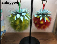 zalzyywb cute fox fur Pineapple Ananas Fruit Pendant POM Charm Purse Bag Car Keyring Key Chain Wedding Party Girl Gift jewelry