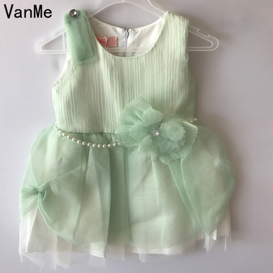 Compare prices on bridesmaid dress patterns for children online vanme mini girls vestido pearl pattern tulle ball gown dress bridesmaid bow tie belt birthday party ombrellifo Choice Image