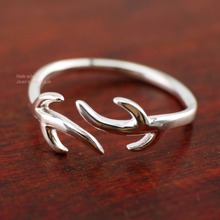 925 Sterling Silver Deer Horn Animal Adjustable Mid Finger Midi Pinkie Ring Size 2.75/6 A3173(China)