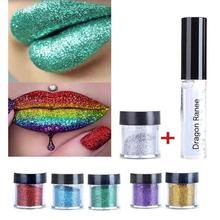 Metallic Eyeshadow Pro Glitter Eye Shadow Powder Cosmetics Shimmer Pigment Waterproof Double Use Lips EyeShadow Makeup Tool W2(China)
