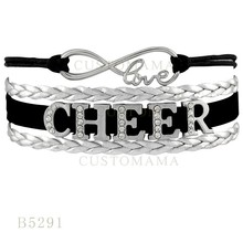 (10 PCS/Lot) Infinity Love Rhinestones Cheer Dog Paw Megaphone Charms Bracelets For Women Silver Navy Jewelry Wax Wrap Blacelets