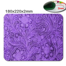 Custom 180 x220x2mm Elegant Purple Leather Look Floral Embossed Design Mouse Pad - Stylish, durable office accessory and gift(China)