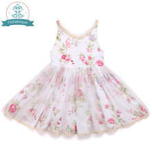 Kids Dress for Girl Clothes 2017 Summer style Brand Sleeveless Cotton Floral Print Design Princess Dresses Children's Clothing(China)