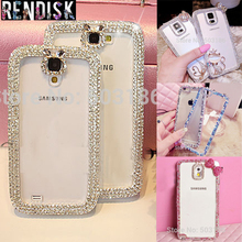 Beautiful Swan Hello Kitty Diamond Bling Rhinestone Frame case cover For Samsung Galaxy Premier i9260 Crystal cases(China)