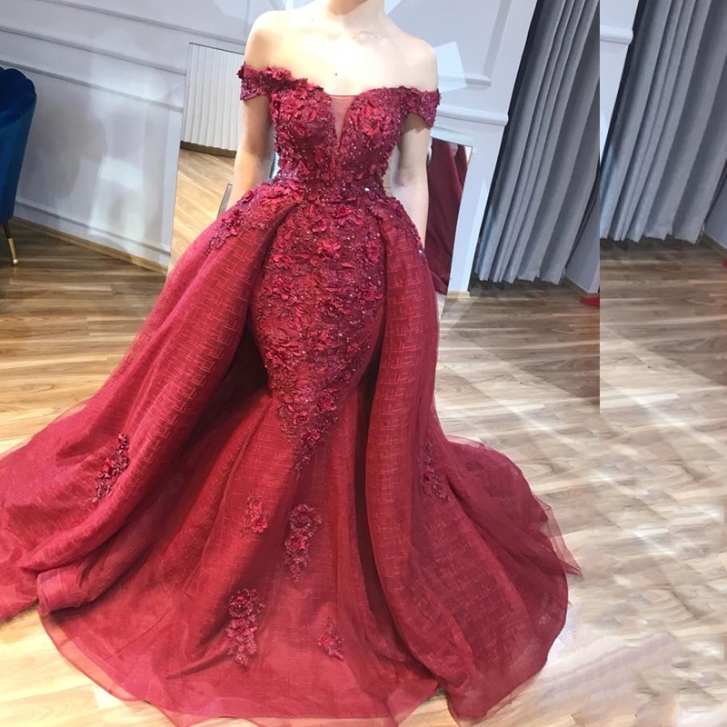 Abendkleider Dubai Wine Red Lace Beaded Mermaid Evening Dresses 2019 With Detachable Train 3D Flower Prom Gowns Abiye(China)