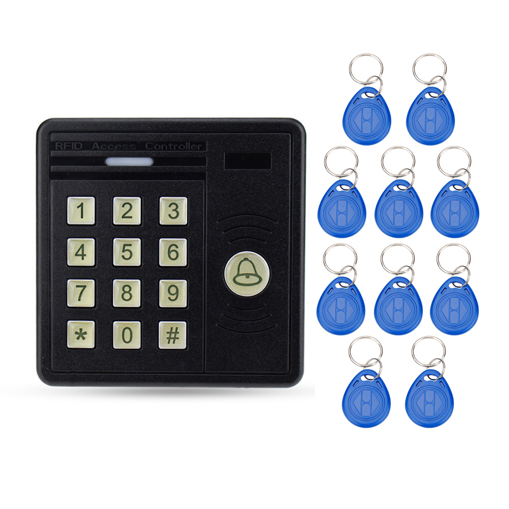 Waterproof standalone door access controller with digital keypad button ID card reader with 10 keys for home security system<br>