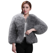 Women 2017 Fur Coat Genuine Ostrich Fur Winter Jacket Retail / Wholesale Top Quality Manteau Femme Hiver Feather Coat(China)