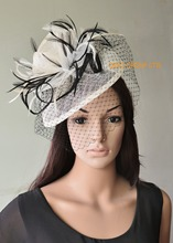 Ivory Black  sinamay fascinator with feathers&veiling for weddings,races,party,Derby Kentucky.
