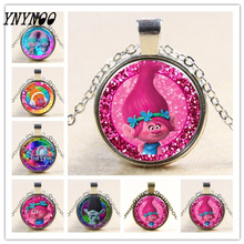 YNYNOO New Arrived DreamWorks 60CM Silver/Bronze Color Trolls Glass Pendant Chain Necklace for Kid Dress Up Action Figures Toys(China)