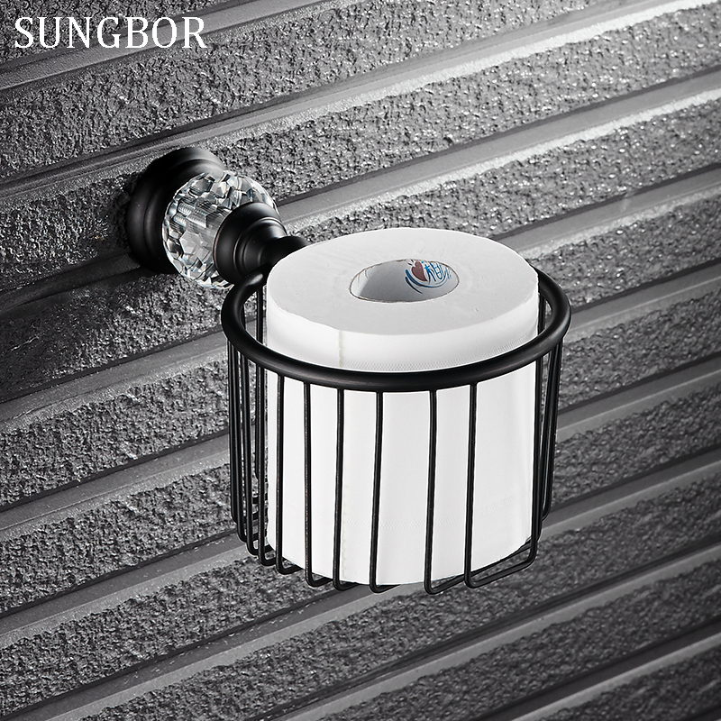 Bathroom black crystal paper basket holder with crystal head wall tissue box hand paper box in bathroom accessories SY-4907H<br>
