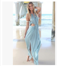 Europe and the United States the new summer 2016 women's clothing fashion sexy condole belt sea beach chiffon long dress QY258