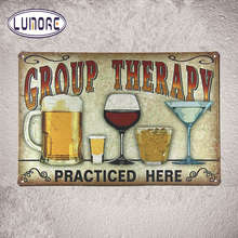 "Metal Tin signs "" Group Therapy Practiced Here "" Alcohol Beer Poster Vintage Bar Pub sign Decor Restaurant Cafe Wall Plaque D66"
