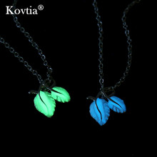 Kovtia Fashin New Design Leaf Pendant Luminous Jewelry Glow In The Dark Necklace For Women And Men