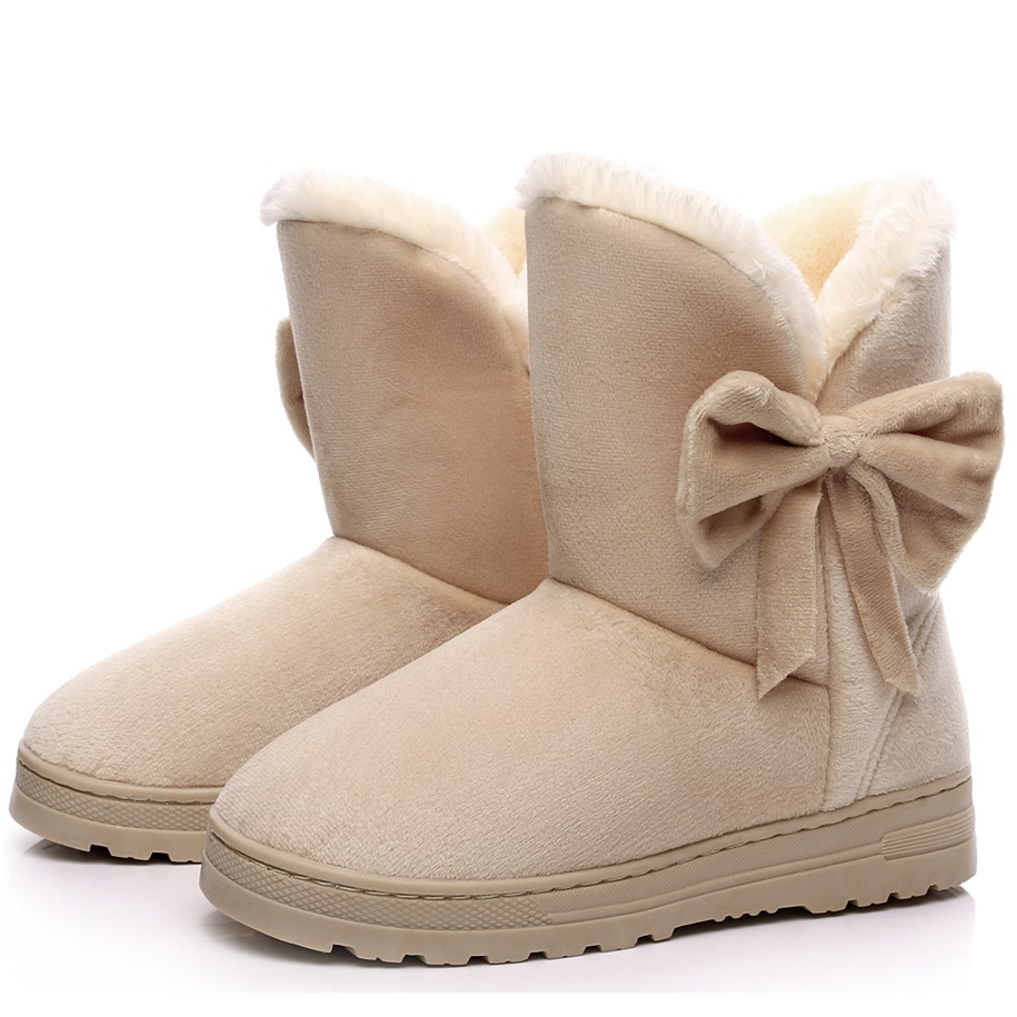 Women Boots 2017 New Arrival Ankle Winter Boots Female Cute Solid Bowtie Women Snow Boots Flat Shoes Slip On Botas Femininas<br><br>Aliexpress