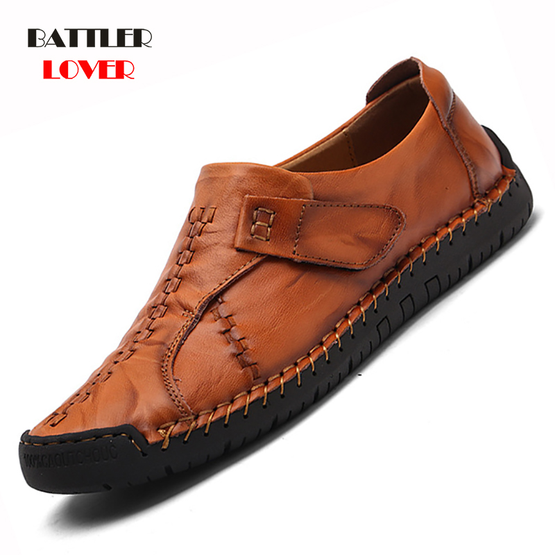 Luxury Casual Shoes Men Loafers Genuine Leather Flat Slipon High Quality Designer Shoes Men Moccasins Sneaker Footwear Male Shoe