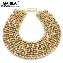 MANILAI Chunky Metal Statement Necklace For Women Neck Bib Collar Choker Necklace Maxi Jewelry Golden & Silver Colors Bijoux(China)