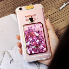 Quicksand Mobile Phone Case Perfume Bottle Pattern with Glitter Powder Girl TPU & PC Cellphone Cover Case for iPhone 7/8 Plus(China)