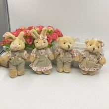 13cm x 6pair Lovely Plush Couple Teddy Bear Bunny Rabbit With linen Dress/Clothes Wedding Couple Valentine Gifts